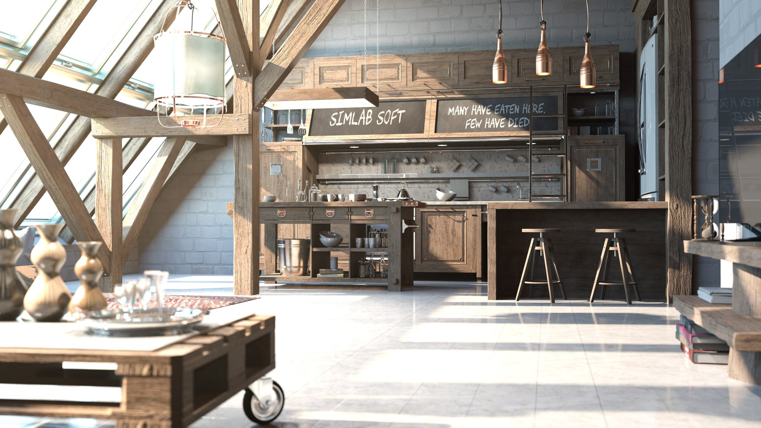 Rendered Large Kitchen