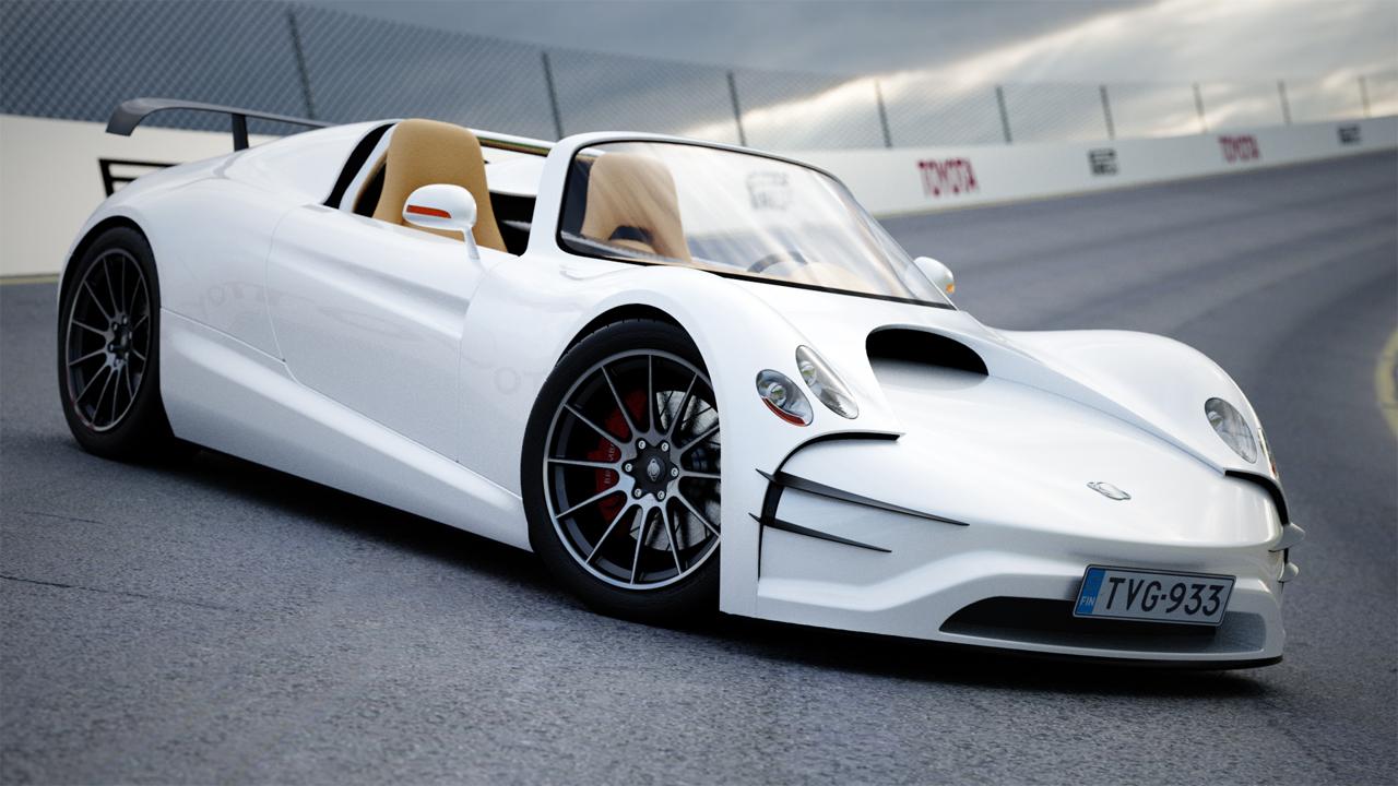 White Race Car