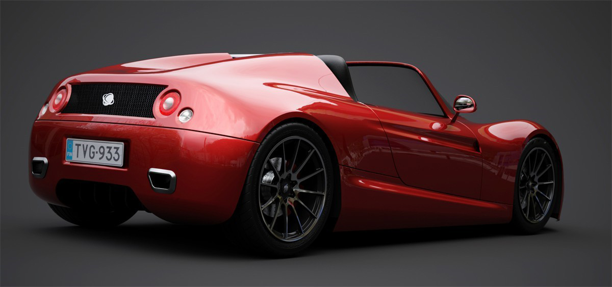 Rendered Red Car