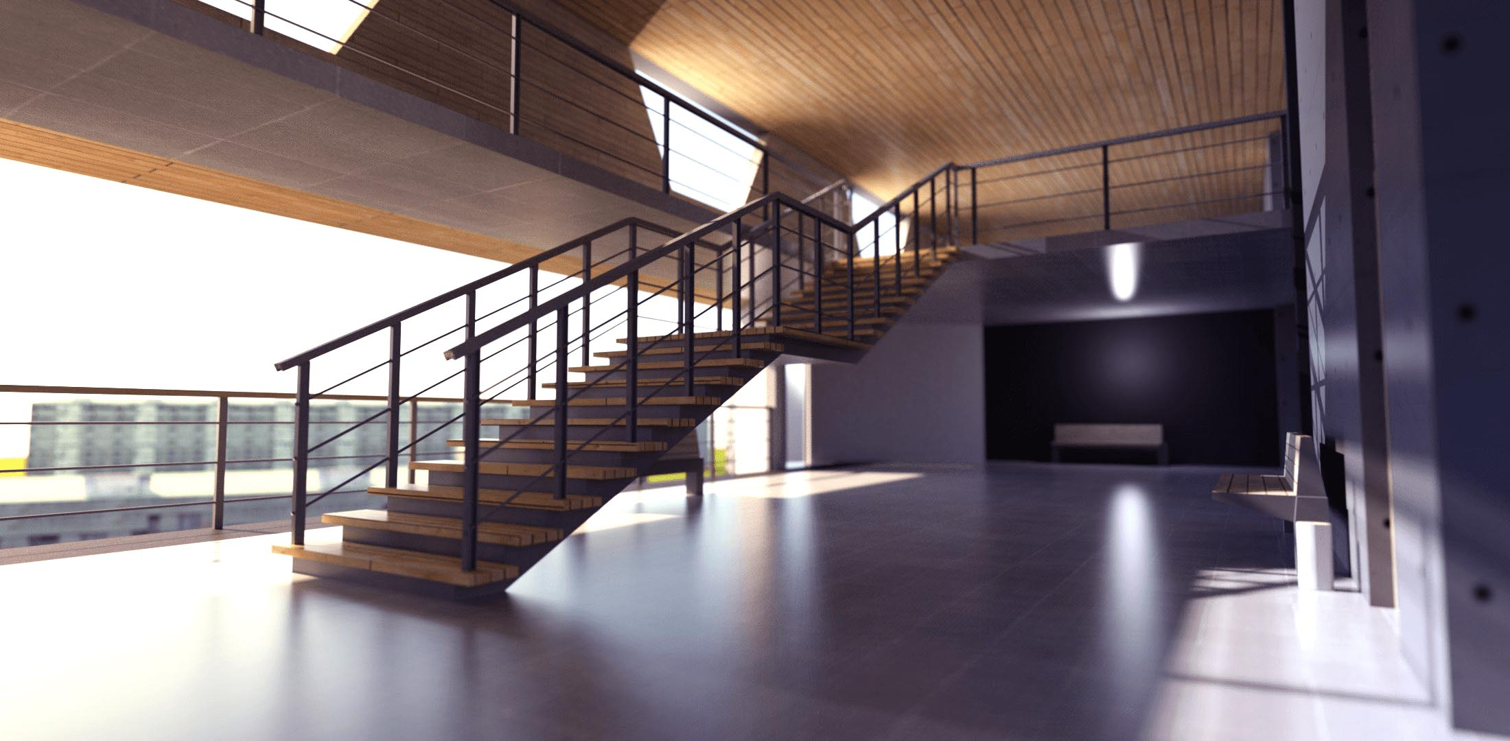 Rendered Stair and View