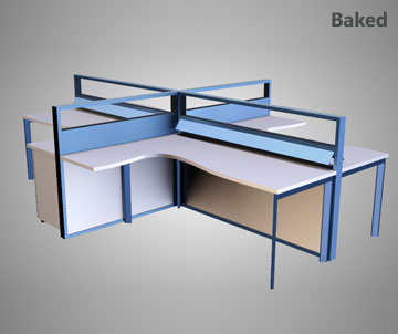 Texture Baking - Example 1 (Desk Model) - Simlab Composer 3d Application